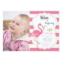Flamingo First Birthday Invitation Girl