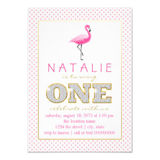 Flamingo First Birthday Party Card