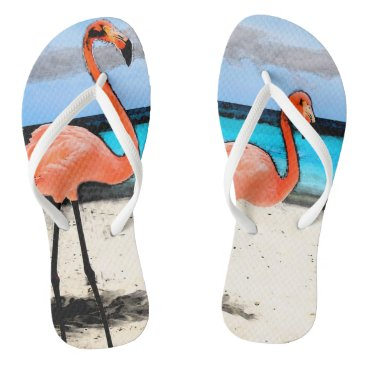 Beach Themed Flamingo FlipFlops White