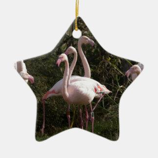 Flamingo Flock Ceramic Ornament