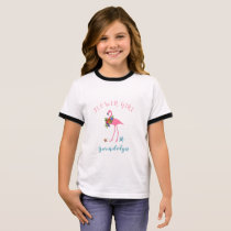 Flamingo Flower Girl Name Beach Wedding T-Shirt