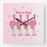 Flamingo Friends are Ready to Shop Square Wall Clock