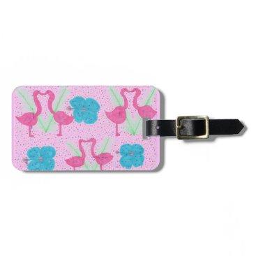 Beach Themed Flamingo Fun Tropical Pattern Bag Tag