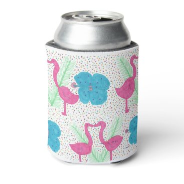 Beach Themed Flamingo Fun Tropical Pattern Can Cooler