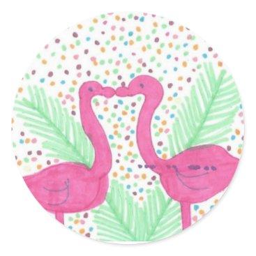Beach Themed Flamingo Fun Tropical Pattern Classic Round Sticker