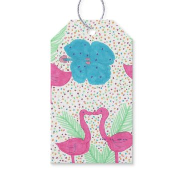 Beach Themed Flamingo Fun Tropical Pattern Gift Tags