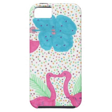 Beach Themed Flamingo Fun Tropical Pattern iPhone SE/5/5s Case