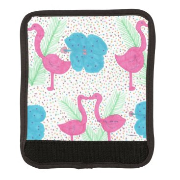 Beach Themed Flamingo Fun Tropical Pattern Luggage Handle Wrap