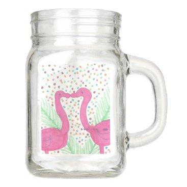 Beach Themed Flamingo Fun Tropical Pattern Mason Jar