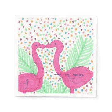 Beach Themed Flamingo Fun Tropical Pattern Paper Napkin