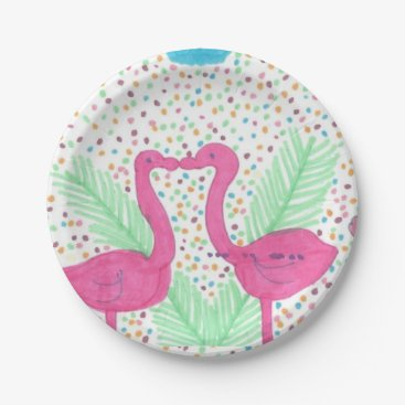 Beach Themed Flamingo Fun Tropical Pattern Paper Plate