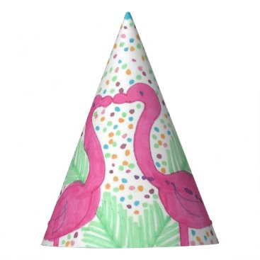 Beach Themed Flamingo Fun Tropical Pattern Party Hat