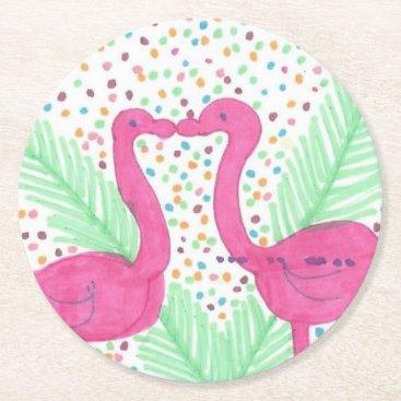 Beach Themed Flamingo Fun Tropical Pattern Round Paper Coaster