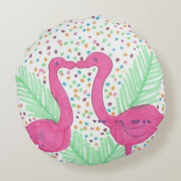 Beach Themed Flamingo Fun Tropical Pattern Round Pillow