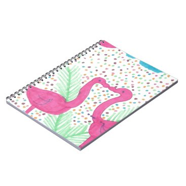 Beach Themed Flamingo Fun Tropical Pattern Spiral Notebook