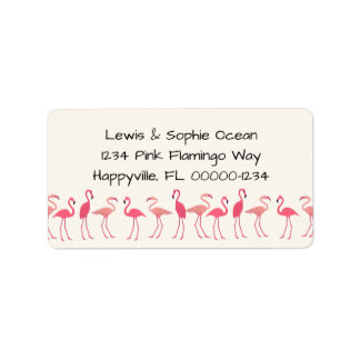 Flamingo Gathering Beach Residence Label