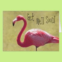 Flamingo Get Well Soon Card