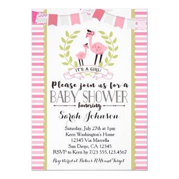 Toddler & Baby themed Flamingo Girl Baby Shower Invitation