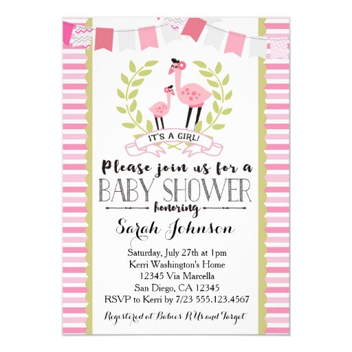 Flamingo Girl Baby Shower Invitation
