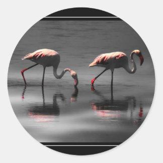 Flamingo Glow Classic Round Sticker
