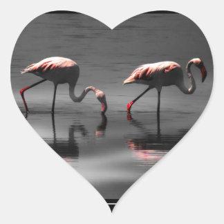 Flamingo Glow Heart Sticker