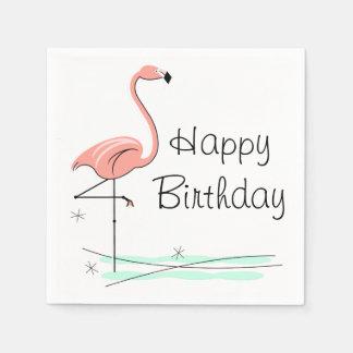 Flamingo Happy Birthday paper napkins