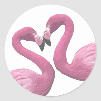 Flamingo Heart Classic Round Sticker