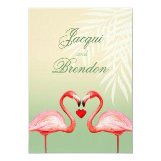 Flamingo Heart Kiss | jade Wedding Card