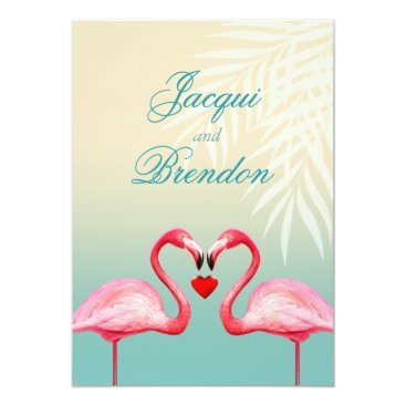 Beach Themed Flamingo Heart Kiss | mint blue Wedding Card