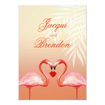 Beach Themed Flamingo Heart Kiss | peach Wedding Card
