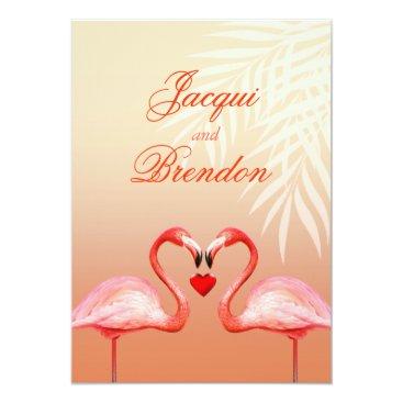 Beach Themed Flamingo Heart Kiss | peach Wedding Card