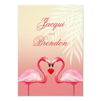 Flamingo Heart Kiss | pink Wedding Card