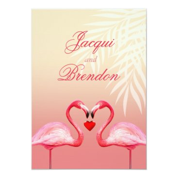Beach Themed Flamingo Heart Kiss | pink Wedding Card