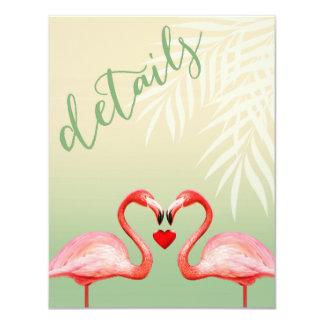 Flamingo Heart Kiss Reception Details | jade Card