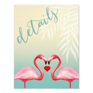 Flamingo Heart Kiss Reception Details | mint blue Card