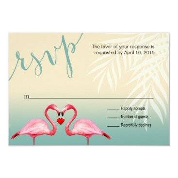 Beach Themed Flamingo Heart Kiss RSVP | mint blue Card