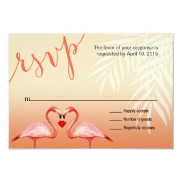 Beach Themed Flamingo Heart Kiss RSVP | peach Card
