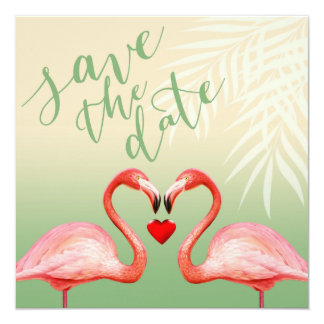Flamingo Heart Kiss Save the Date | jade Card