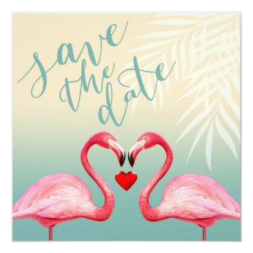 Beach Themed Flamingo Heart Kiss Save the Date | mint blue Card