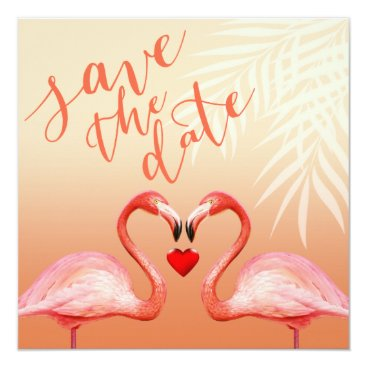 Beach Themed Flamingo Heart Kiss Save the Date | peach Card