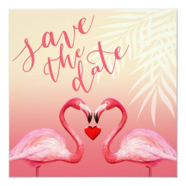 Beach Themed Flamingo Heart Kiss Save the Date | pink Card