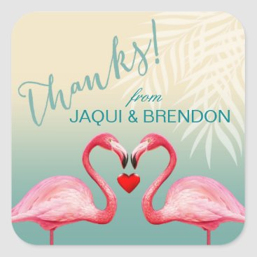 Beach Themed Flamingo Heart Kiss Thank You | mint blue Square Sticker