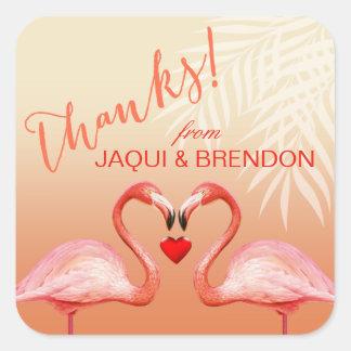 Flamingo Heart Kiss Thank You   peach Square Sticker