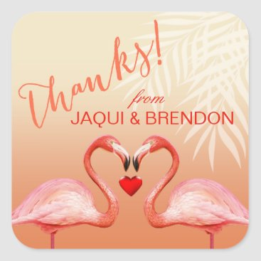 Beach Themed Flamingo Heart Kiss Thank You | peach Square Sticker