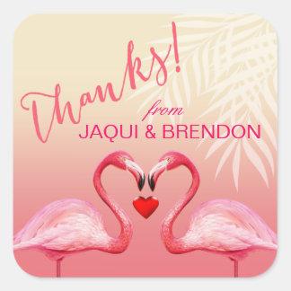 Flamingo Heart Kiss Thank You   pink Square Sticker
