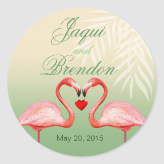 Flamingo Heart Kiss Wedding Favor   jade Classic Round Sticker