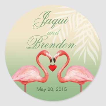 Beach Themed Flamingo Heart Kiss Wedding Favor | jade Classic Round Sticker