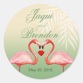 Flamingo Heart Kiss Wedding Favor | jade Sticker