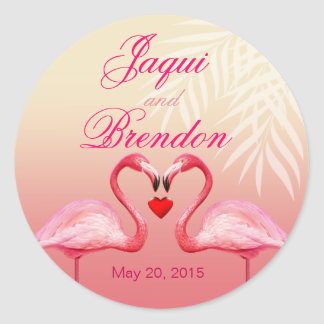 Flamingo Heart Kiss Wedding Favor   pink Classic Round Sticker