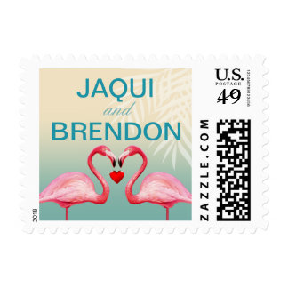 Flamingo Heart Kiss Wedding | mint blue Postage